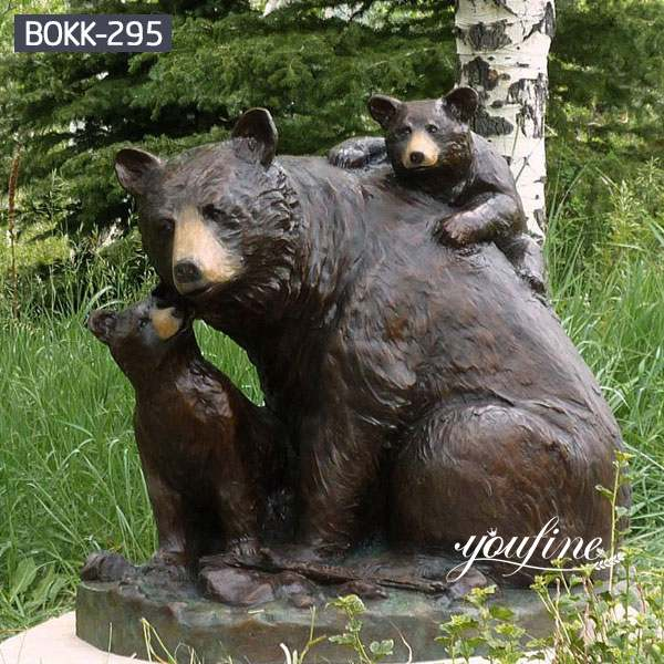 Zoo Decoration Life Size Bronze Bear Family Statue for Sale BOKK-295