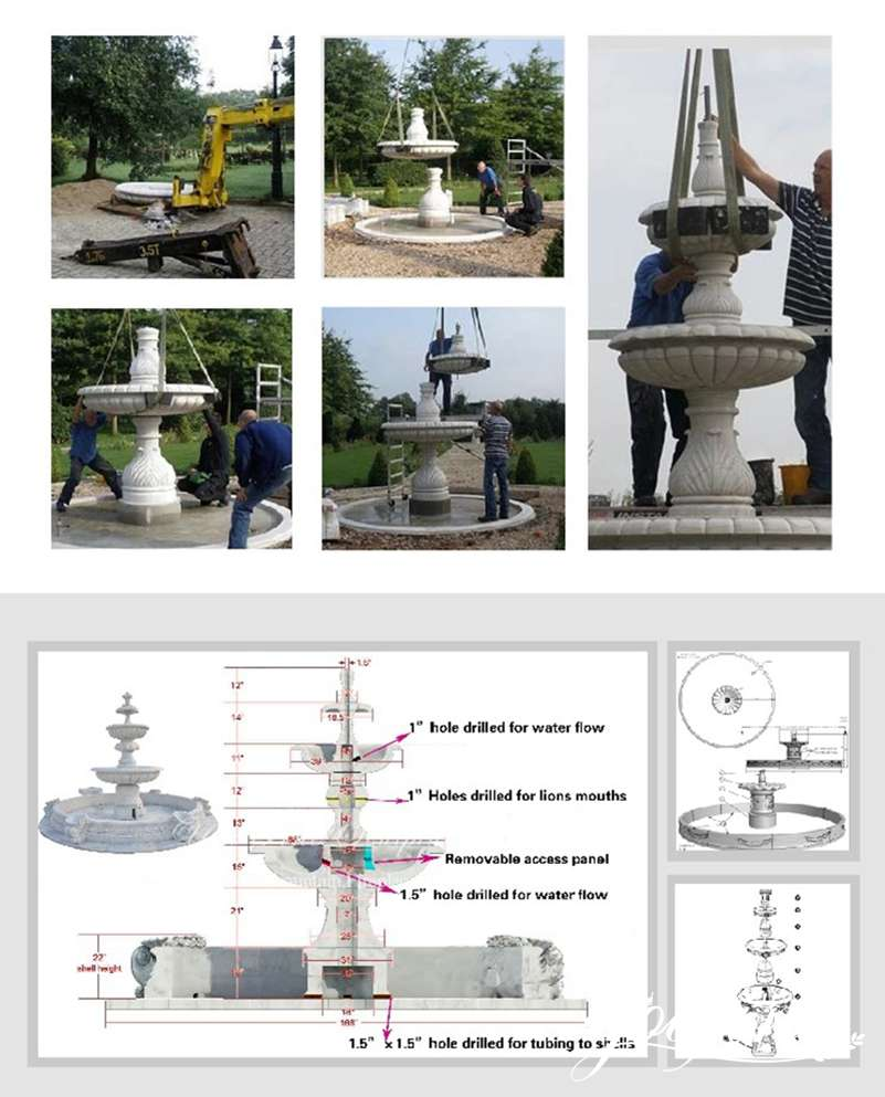 process-of-outdoor marble fountain