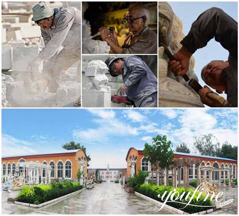 process of outdoor marble fountain