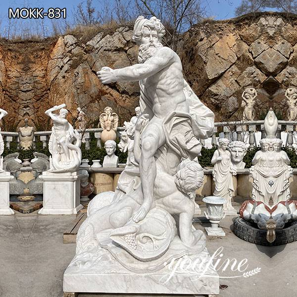 7 Feet High White Marble Poseidon Statue Garden Decor for Sale