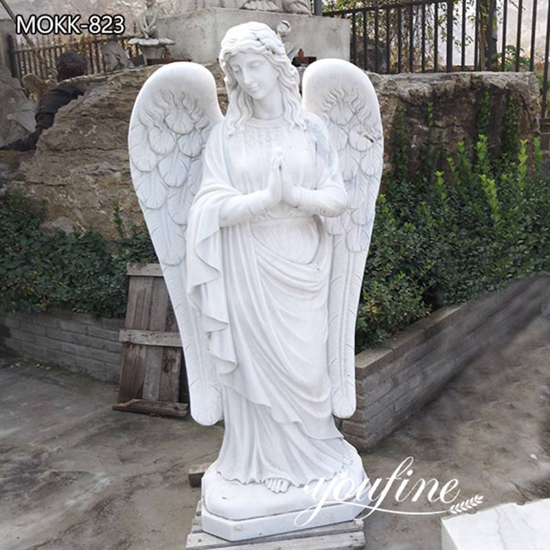 Garden Natural Marble Praying Angel Statue for Sale