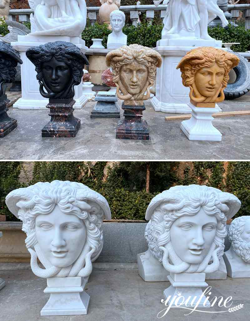 Hand Carved Famous Marble Medusa Head Statue for Sale