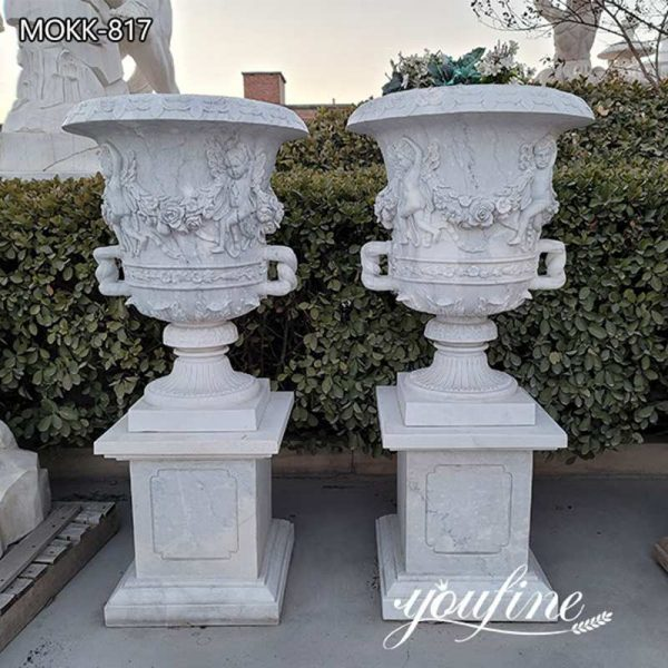 Hand Carved Large Garden White Marble Planters for Sale MOKK-817