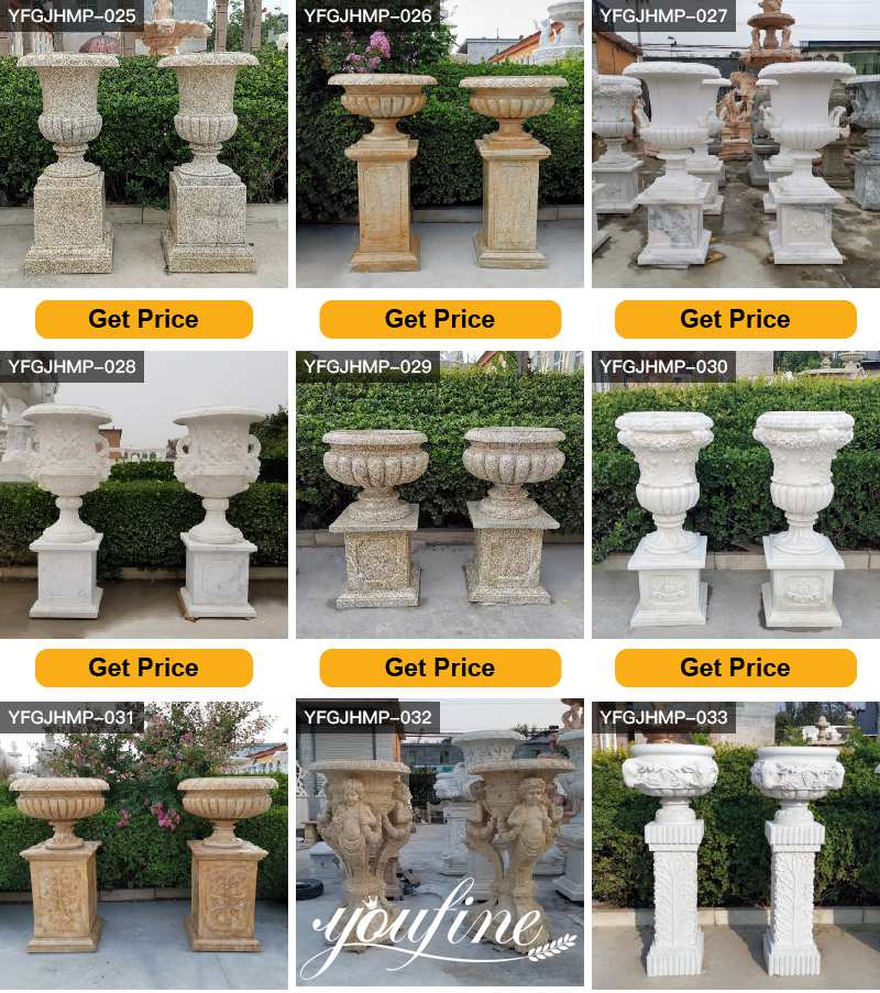 Hand Carved Large Garden White Marble Planters