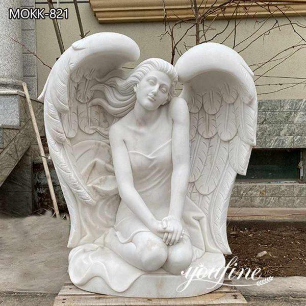 Hand Carved Marble Kneeling Angel Statue Garden Decor for Sale MOKK-821