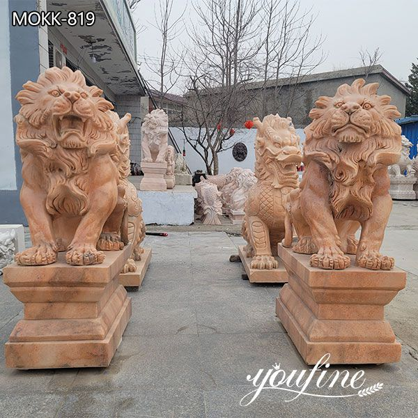 Life Size Red Marble Lion Statues for Driveway for Sale MOKK-819
