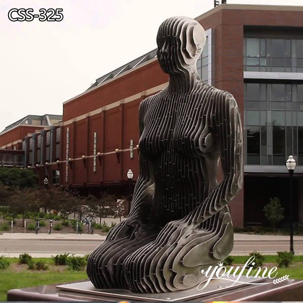 Modern Abstract Metal Disappear Sculpture Urban Street for Sale CSS-325