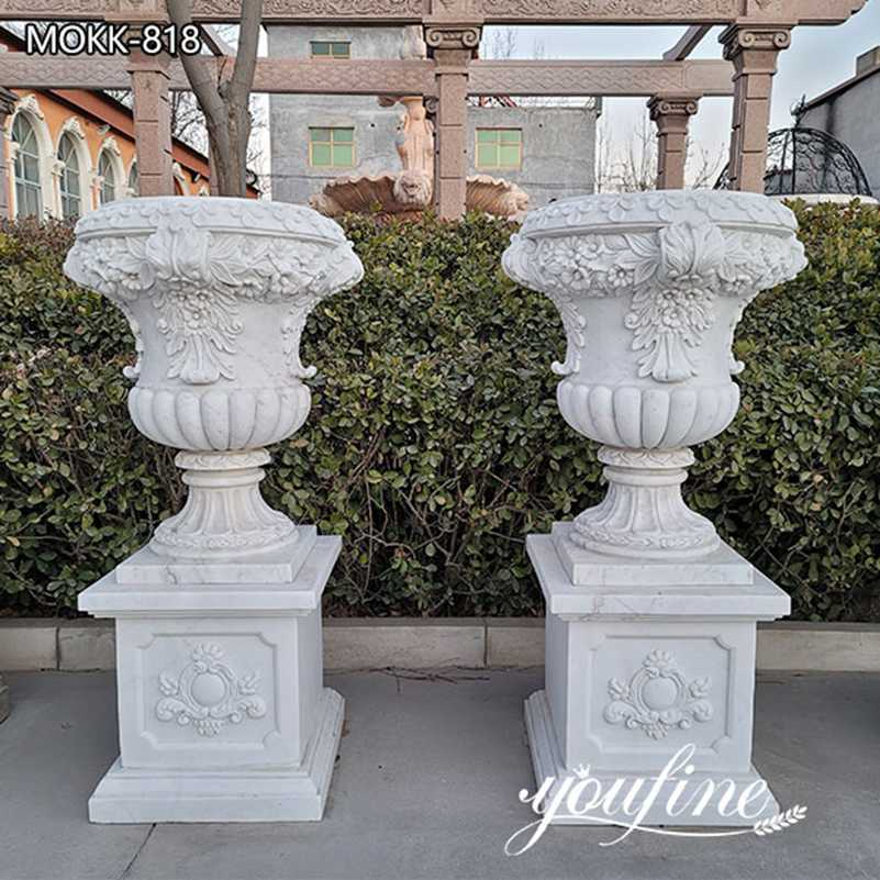 Outdoor Large Marble Garden Flower Pots for Sale MOKK-818