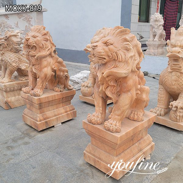 Red Marble Lion Statues for Driveway for Sale