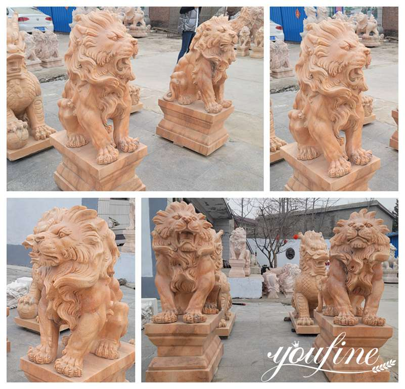 Red Marble Lion Statues for Driveway