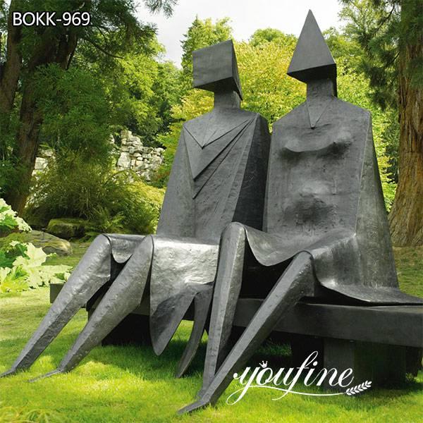 Modern Bronze Sitting Couple Statue Lynn Chadwick Sculpture for Sale BOKK-969