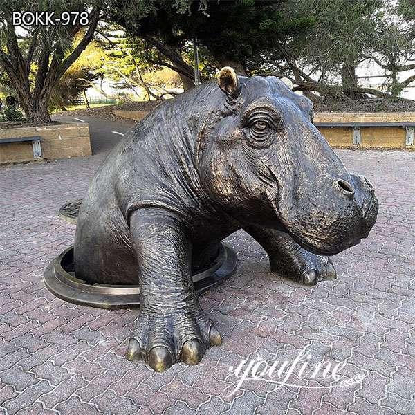 Bronze Come Out Hippo Statue Garden Decor for Sale