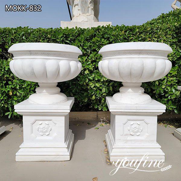 Garden Decor White Marble Flower Pots Manufacturer