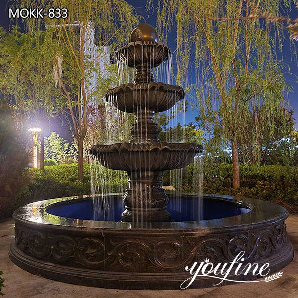 Large Black Marble Three Tiered Fountains Outdoor for Sale MOKK-833