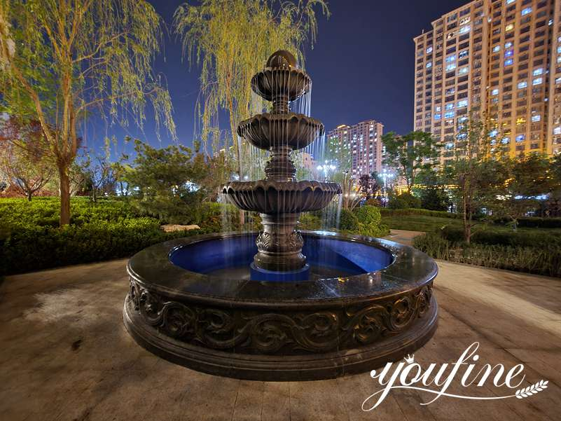 Large Black Marble Three Tiered Fountains