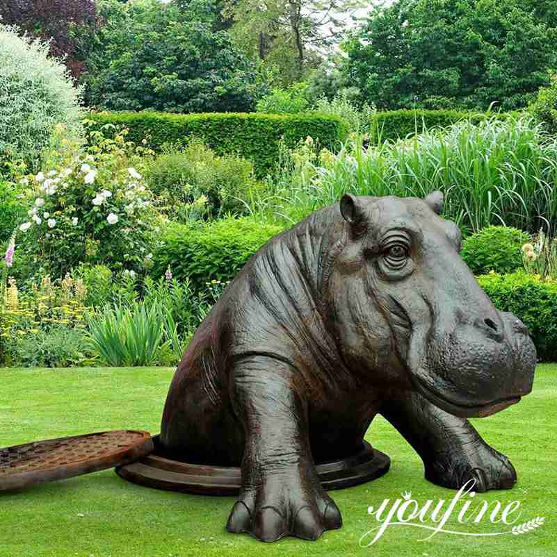 Large Bronze Come Out Hippo Statue