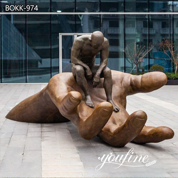 Modern Large Bronze Hand of God Statue Garden Decor