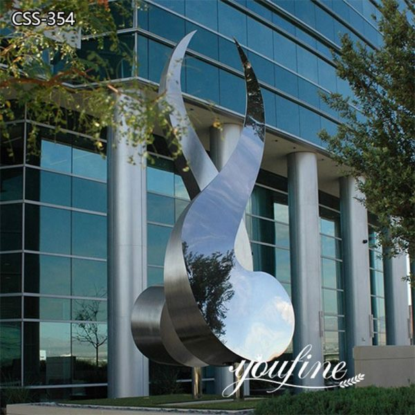 Outdoor Square Polished Stainless Steel Sculpture Factory
