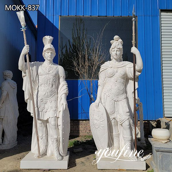 Roman Style Large Marble Warrior Statues for Manor Entrance for Sale