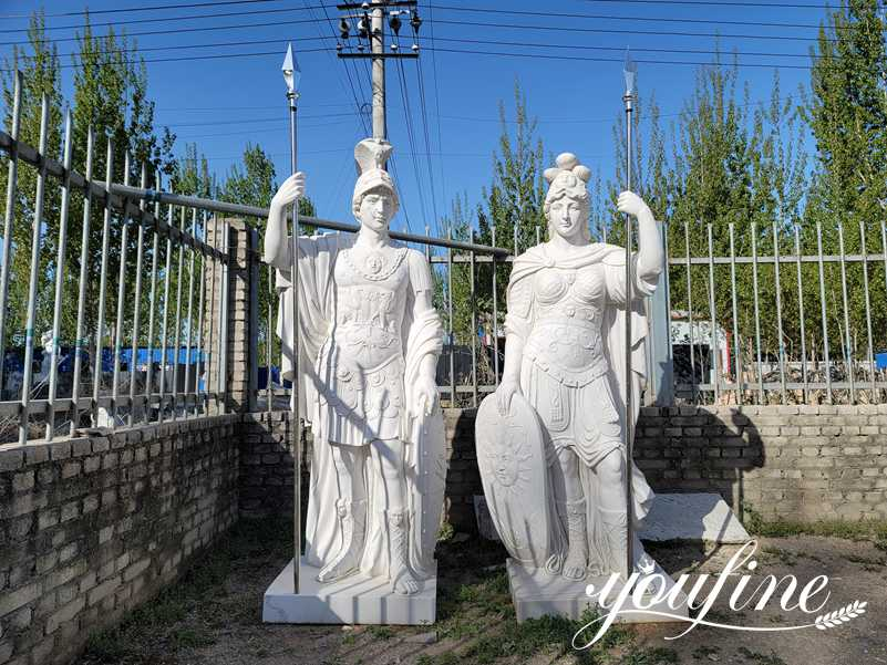 Roman Style Large Marble Warrior Statues for Manor Entrance