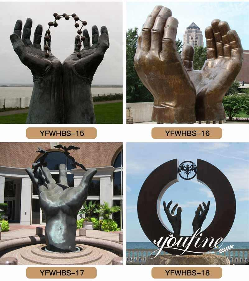 large bronze hands statue for sale