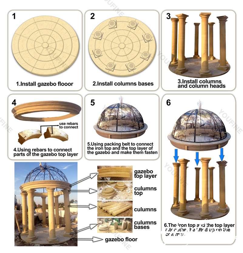 outdoor marble gazebo-Installing-Diagra