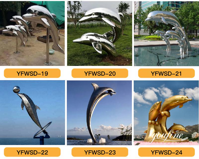 stainless steel dolphin sculpture