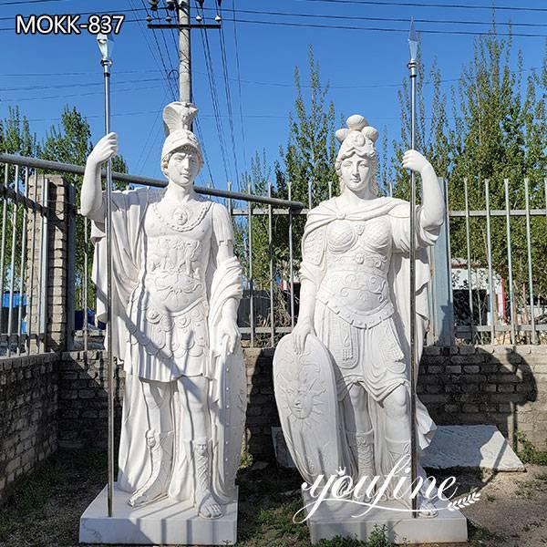 white marble warrior statue