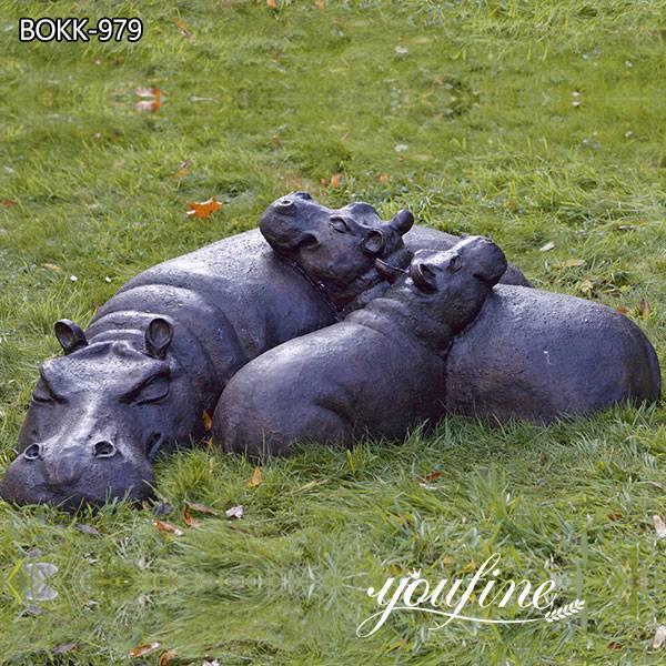 Antique Bronze Hippo Family Statue Lawn Decor for Sale BOKK-978