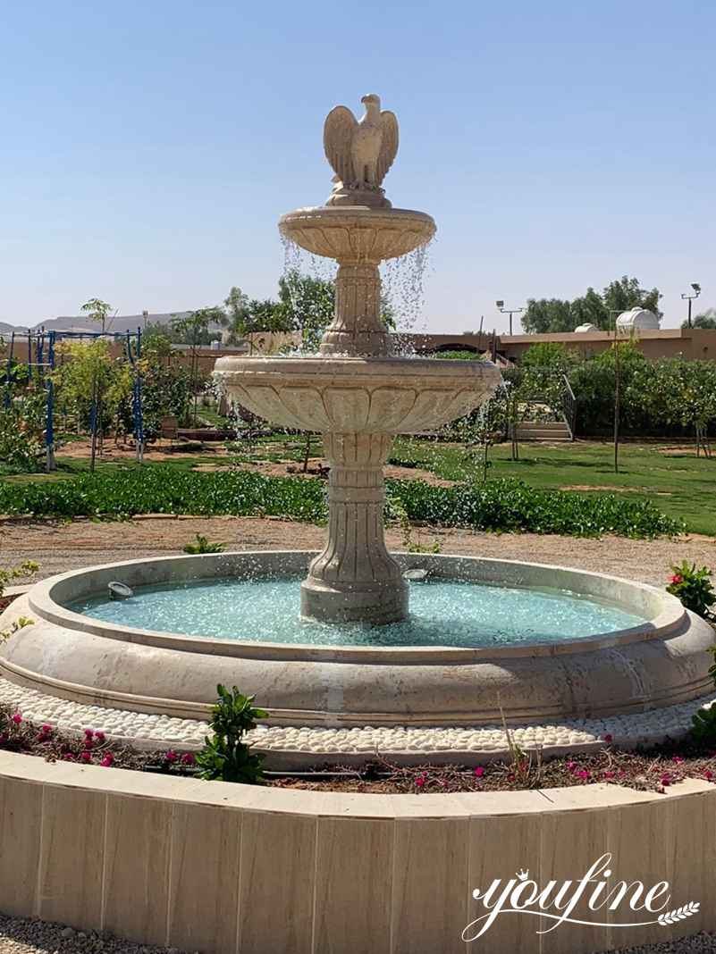 Beige Tiered Marble Fountain for Sale