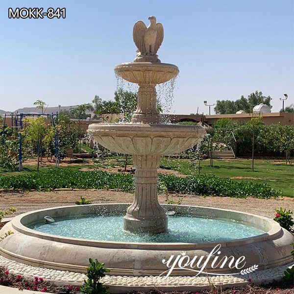 Garden Natural Beige Tiered Marble Fountain for Sale MOKK-841