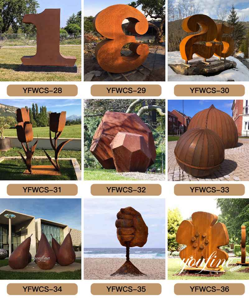 Large Outdoor Corten Garden Sculpture for Sale