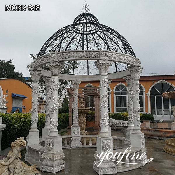 Large Outdoor White Marble Gazebo with Iron Top for Sale