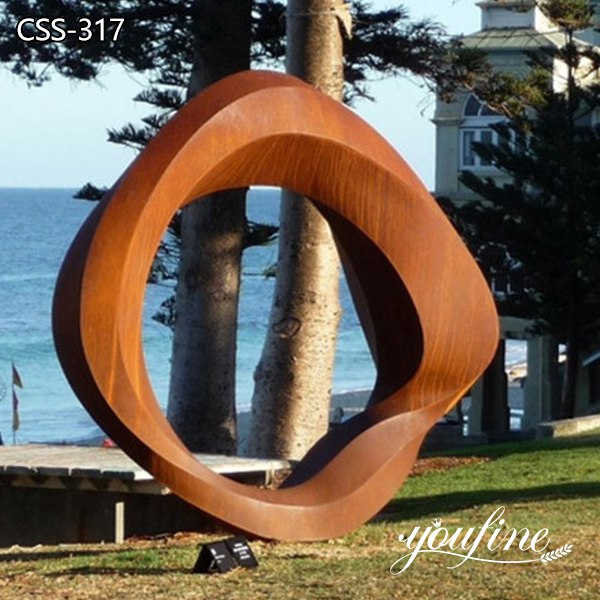 Large Ring Rusted Metal Sculpture Lawn Decor for Sale CSS-317
