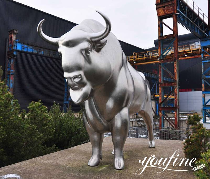 Large Stainless Steel Metal Avesta Bull Statue for Sale