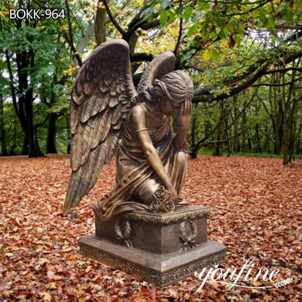 Life Size Bronze Angel Sculpture Kneeling Angel for Sale MOKK-964