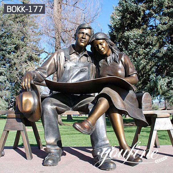 Custom Reading Newspaper Bronze Couple Statue for Sale BOKK-177