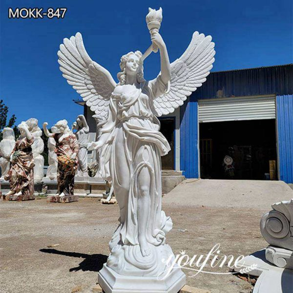 Life Size Marble Angel Holding Torch Statue for Sale