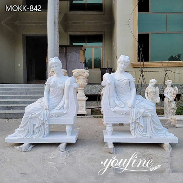 Paired Marble Sitting Woman Statues Outdoor Garden for Sale MOKK-842