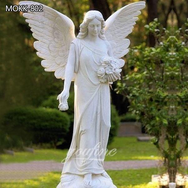 Outdoor Garden White Marble Angel Statue for Sale MOKK-802