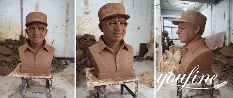 clay mold of marble bust