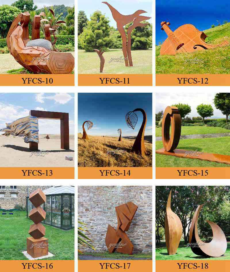 rusted metal sculpture for sale