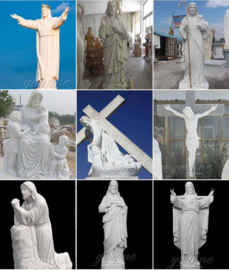 Hand Carved Catholic Jesus Marble Statue Garden