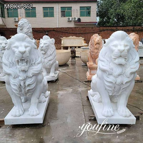 Hand Carved White Marble Lion Statue for Front Porc