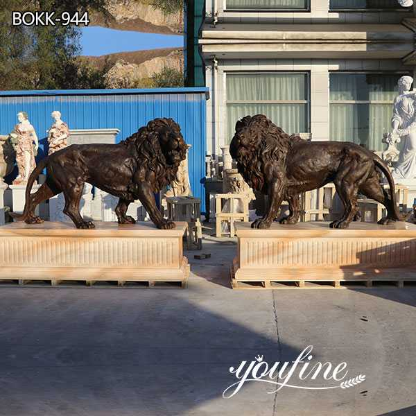 Large Bronze Lion Statues Outdoor Driveway for Sale