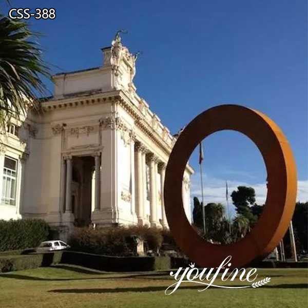 Large Outdoor Rusty Metal Ring Garden Sculpture for Sale