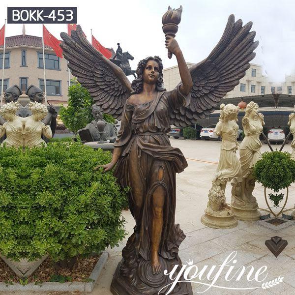 Life Size Bronze Angel Sculpture Holding Torch for Sale MOKK-453