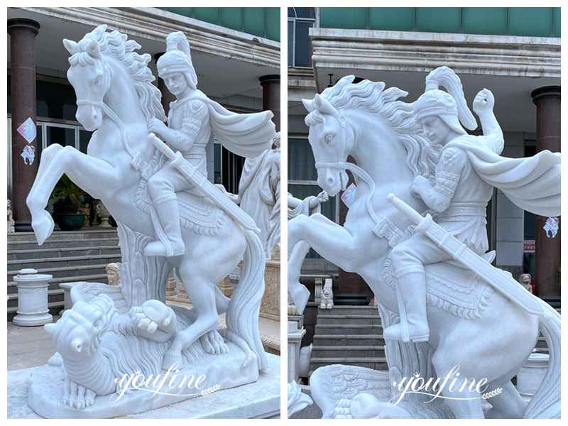 Life Size Marble St George and the Dragon Statue for Sale