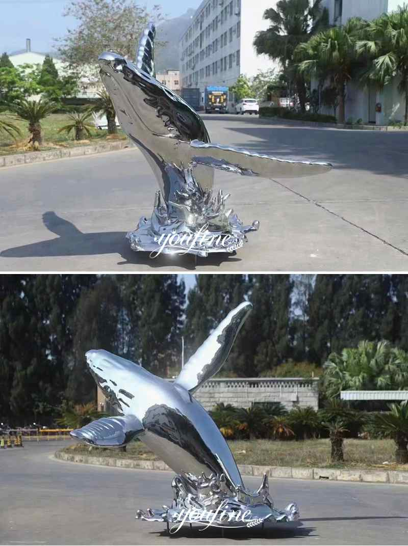 Life Size Stainless Steel Dolphin Sculpture Fountain Pool
