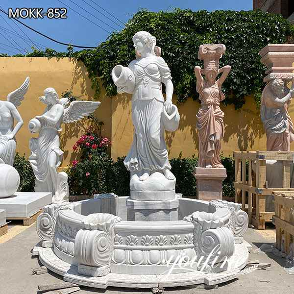Outdoor White Marble Garden Lady Statue Fountains for Sale MOKK-852